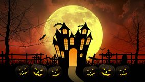 Castello di orrore con la luna nel fondo rosso illustrazione vettoriale