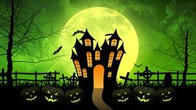 Castello di orrore con la luna nel fondo verde illustrazione vettoriale