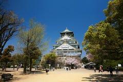 Castello di Osaka con la bei natura e cielo blu Fotografie Stock