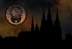 Castello di Praga alla notte Immagine Stock