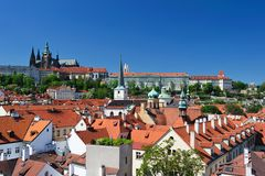 Castello di Praga & orizzonte della città Fotografia Stock Libera da Diritti
