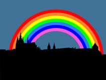 Castello di Praga con il Rainbow Fotografia Stock