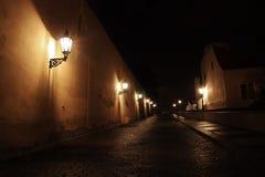 Castello di Praga di notte, repubblica Ceca fotografie stock
