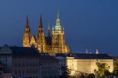 Castello di Praga e cattedrale 1 della st Vitus Fotografia Stock