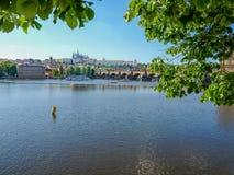 Castello di Praga e di Charles Bridge con il fiume su priorità alta, Pragu Immagine Stock