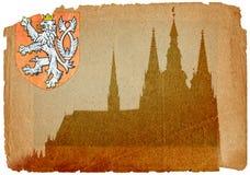 Castello di Praga nello stile del grunge Fotografia Stock Libera da Diritti