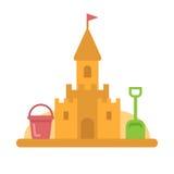 Castello di sabbia con l'icona piana dei giocattoli Fotografia Stock Libera da Diritti