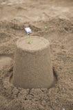 Castello di sabbia con la decorazione del fiore sulla cima Fotografia Stock Libera da Diritti