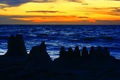 Castello di sabbia Maldive del tramonto Fotografie Stock