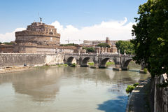 Castello di Sant' Angello. The fortress of Sant'Angelo and its reflection in river Tevere, Rome stock image