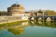 Castello di Sant' Angello, Rome. The fortress of Sant'Angelo and its reflection in river Tevere, Rome royalty free stock image