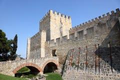 Castello di sao Jorge a Lisbona Fotografie Stock Libere da Diritti