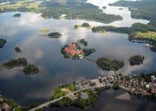 Castello di Trakai in acqua Fotografie Stock Libere da Diritti