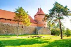 Castello di Trakai con i mura di mattoni fotografie stock libere da diritti