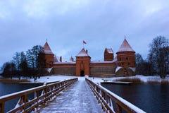 Castello di Trakai nell'inverno Fotografia Stock