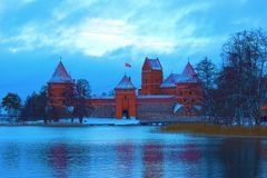 Castello di Trakai nell'inverno Immagini Stock