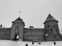 Castello di Trakai sull'inverno Fotografie Stock Libere da Diritti