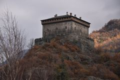 Castello di Verrès, la valle d'Aosta, Italia Fotografie Stock