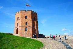 Castello di Vilnius Gediminas sulla collina vicino al fiume di Neris Fotografia Stock