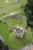 Castello di Warkworth dall'aria Fotografia Stock Libera da Diritti