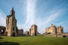 Castello di Warkworth in Northumberland, Inghilterra fotografia stock