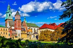 Castello di Wawel a Cracovia, Polonia Fotografie Stock Libere da Diritti