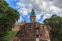 Castello di Wawel della parete Fotografia Stock Libera da Diritti
