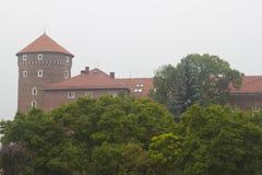 Castello di Wawel e torre, Cracovia Fotografia Stock