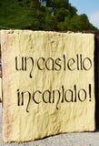 Castello di Zumelle, a Belluno, l'Italia, iscrizione del welcom Fotografia Stock