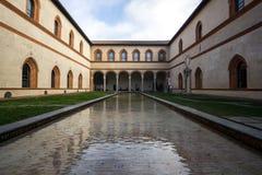 Castello Duke Courtyard di Sforzesco Immagini Stock Libere da Diritti