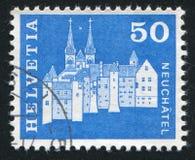 Castello e Abbey Church Fotografia Stock Libera da Diritti