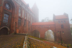 Castello e cattedrale di Kwidzyn in tempo nebbioso Fotografia Stock Libera da Diritti