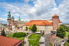 Castello e cattedrale di Wawel a Cracovia Immagini Stock