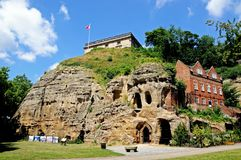 Castello e caverne, Nottingham fotografia stock