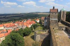 Castello e città di Stolpen Fotografie Stock