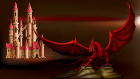 Castello e drago Fotografia Stock Libera da Diritti