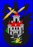 Castello e drago di notte Fotografia Stock