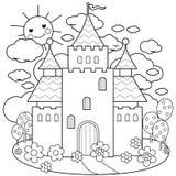 Castello e fiori di fiaba Pagina di coloritura illustrazione di stock