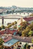 Castello e fiume la Moldava con i ponti, Praga, retro filtro Fotografie Stock Libere da Diritti