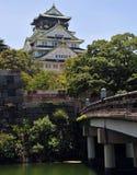 Castello e fossato di Osaka Fotografie Stock