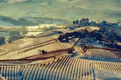 Castello e montagne di Grinzane Cavour in Italia del Nord nel vintag Immagini Stock Libere da Diritti