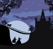 Castello e principessa magici con principe Fotografie Stock Libere da Diritti