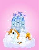 Castello e unicorno Fotografie Stock