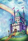 Castello ed arcobaleno magici porpora illustrazione vettoriale