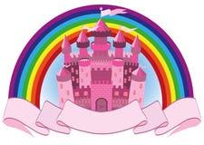 Castello ed arcobaleno magici rosa di fiaba illustrazione di stock