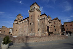 Castello Estense castle in Ferrara, Italy stock photo