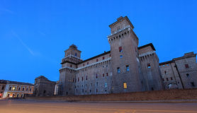 Castello Estense castle at twighlight time Royalty Free Stock Image
