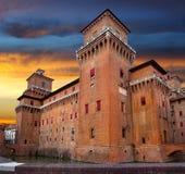 Castello Estense in Ferrara Stockfoto