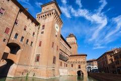 Castello Estense in Ferrara city in sunny day Royalty Free Stock Image