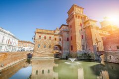 The Castello Estense in Ferrara in Italy Stock Images